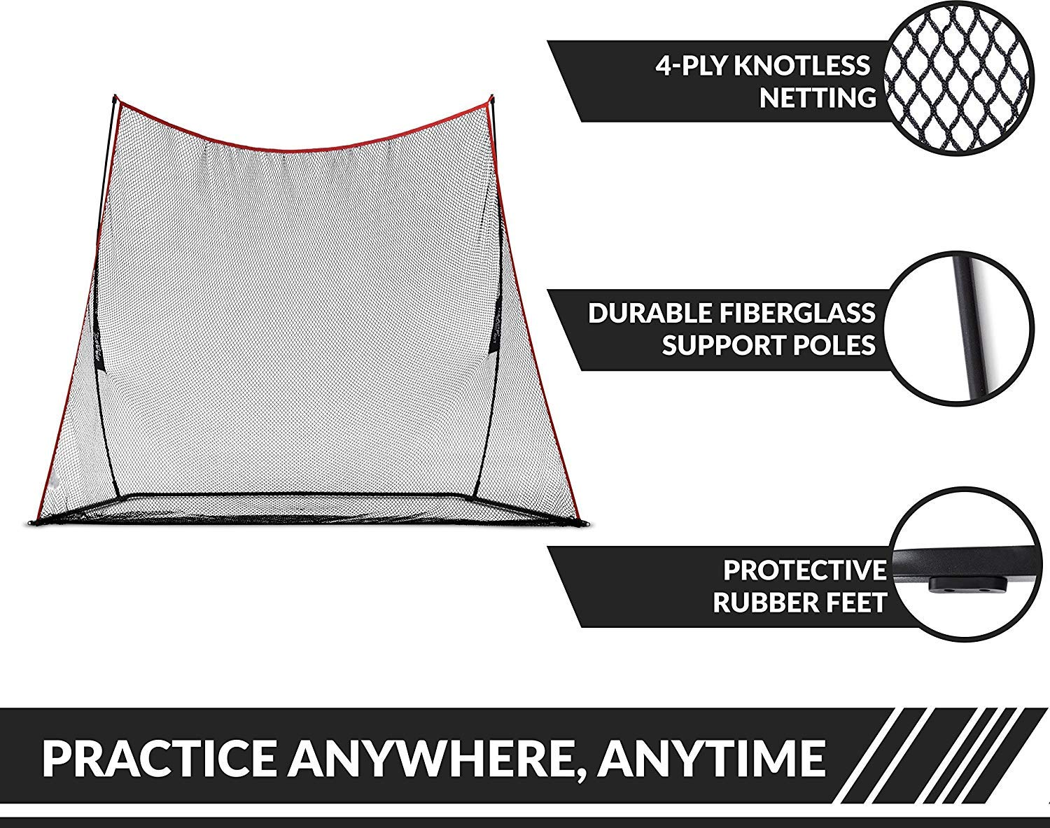 Rukket 3pc Golf Bundle | 10x7ft Haack Golf Net | Tri Turf Hitting Mat | Carry Bag | Practice Driving Indoor and Outdoor | Golfing at Home Swing Training Aids | by SEC Coach Chris Haack by Rukket Sports (Image #5)