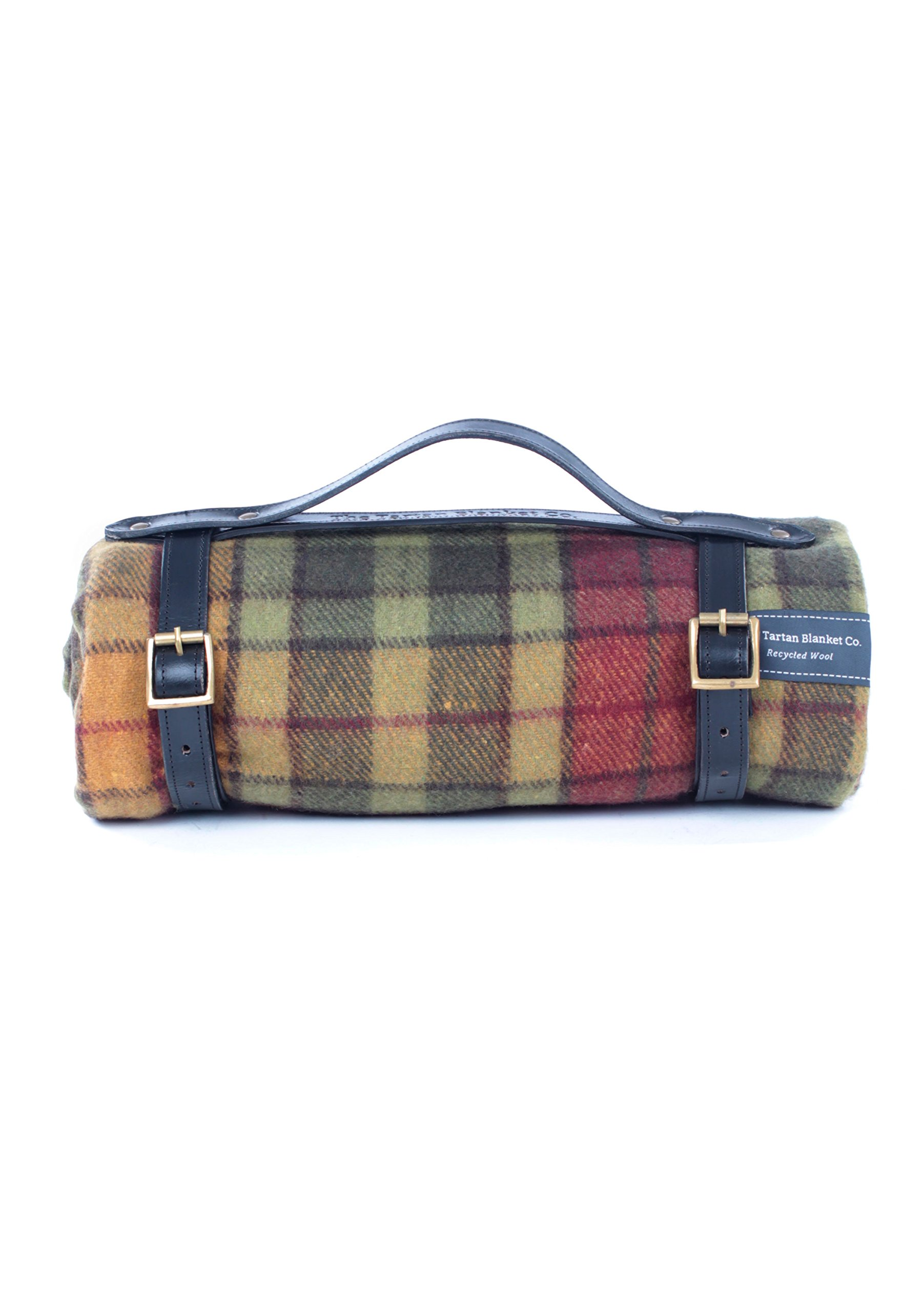 The Tartan Blanket Co. Recycled Wool Picnic Blanket with Black Leather Strap (Buchanan Autumn) by The Tartan Blanket Co.