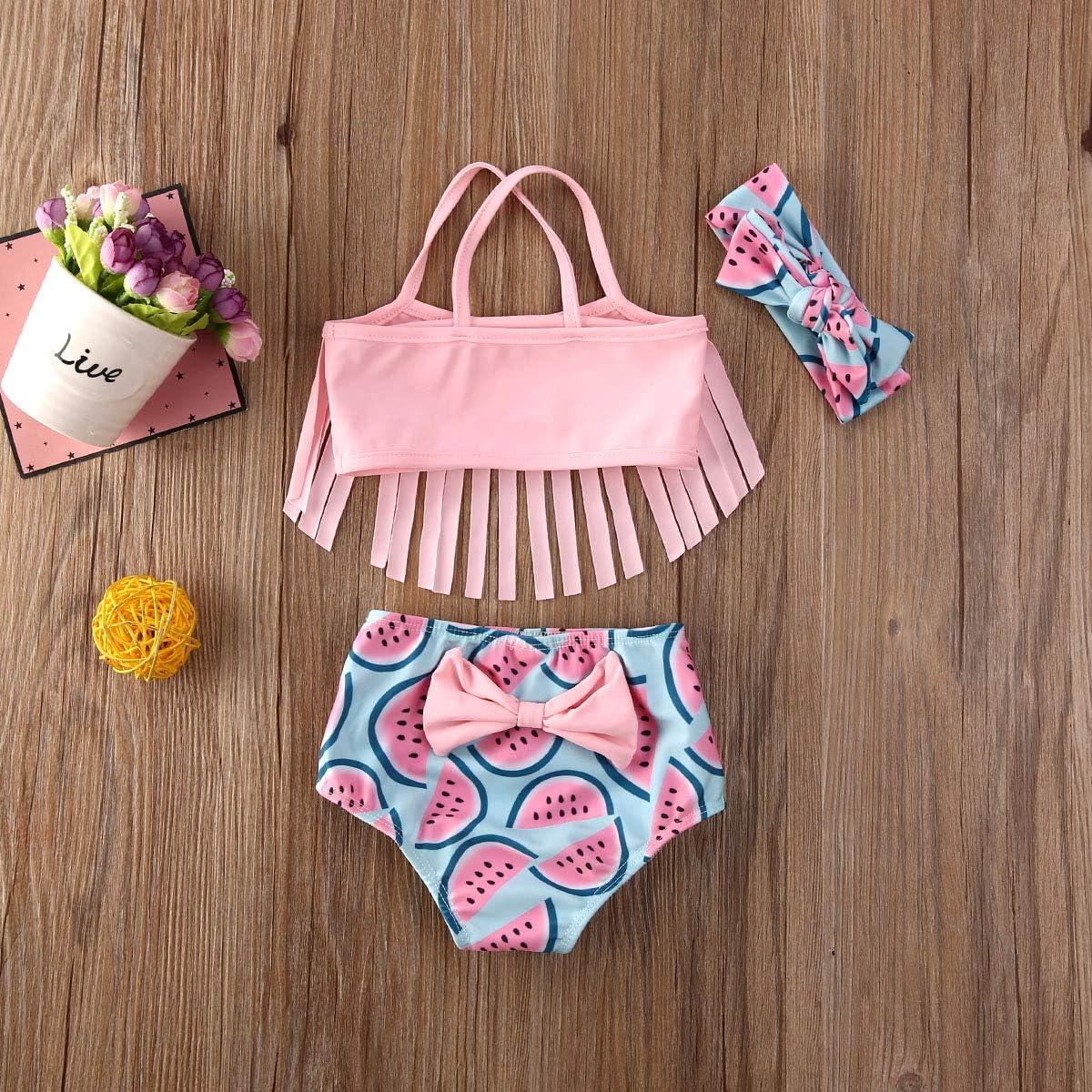 3PCS Toddler Baby Girl Bikini Set Tassel Top Pineapple//Watermelon Printed High Waist Bottoms Swimwear Bathing Suit