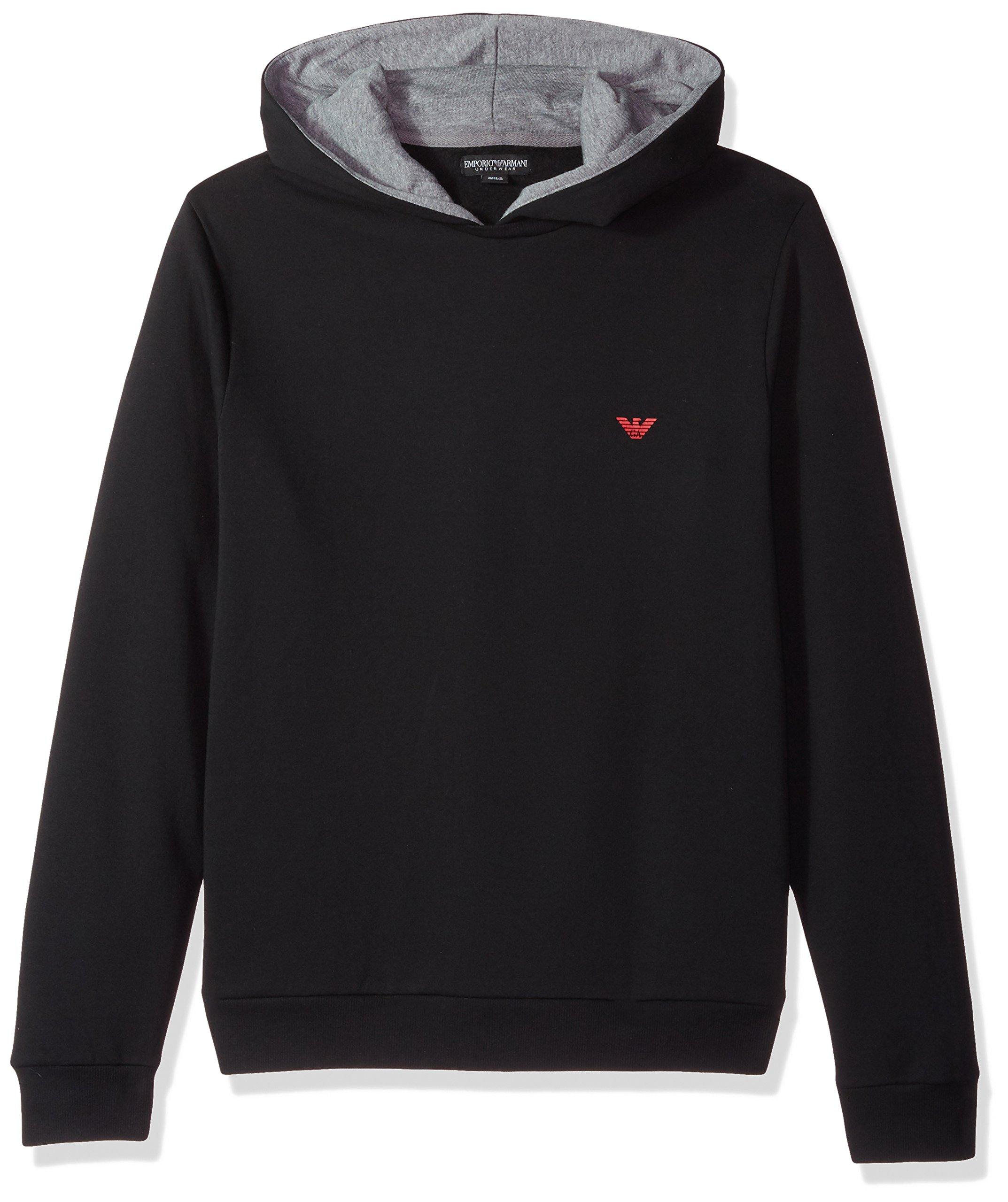 Emporio Armani Men's Basic French Terry Mock Hood Sweater, Black, L