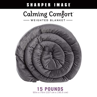 Calming Comfort Weighted Blanket by Sharper Image- A Heavy Blanket| 15 lb. 50  x 75 , Grey