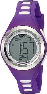 Skechers Womens Tennyson Quartz Metal and Silicone Digital Watch Color: Silver, Purple (Model
