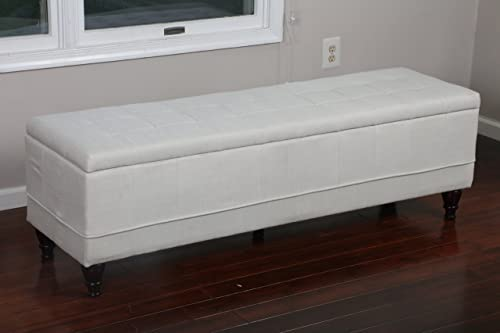Home Life 59 x 17 Extra Long Front of Bed Storage Lift Top Bench Ottoman, Queen, Light Beige
