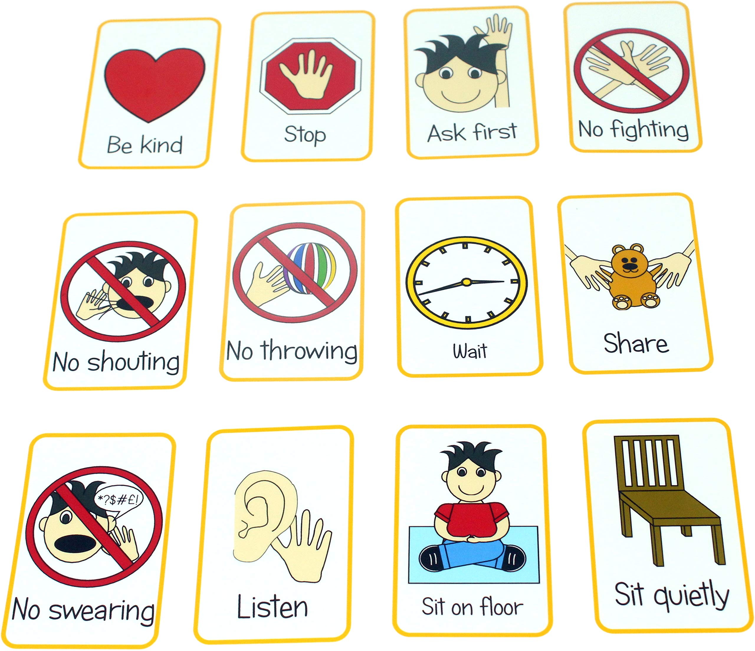 kids2learn Children's Behaviour Flash Cards - Visual Non Verbal Picture Word Communication Aid ASD
