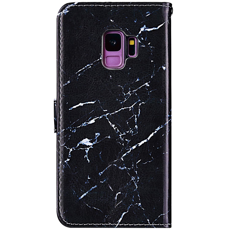 Uposao Compatible avec Samsung Galaxy S9 Coque Housse en Cuir /Étui /à Rabat,Imprim/é Color/é Motif Coque Pochette Portefeuille Cartes Slots Bookstyle Flip Support Coque Smart Case,Marbre Color/ée
