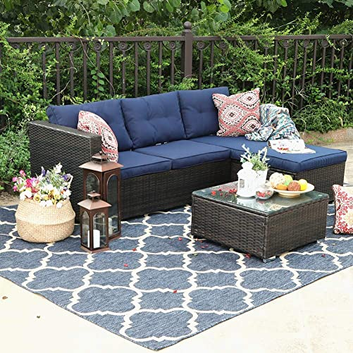PHI VILLA Outdoor Sectional Rattan Sofa – Wicker Patio Furniture Set Blue