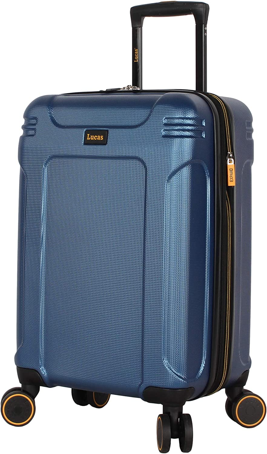 Lucas 20 Inch Carry On Luggage Collection - Expandable Scratch Resistant (ABS + PC) Hardside Suitcase - Designer Lightweight Bag with 8-Rolling Spinner Wheels (Quantum Dark Lake Blue)