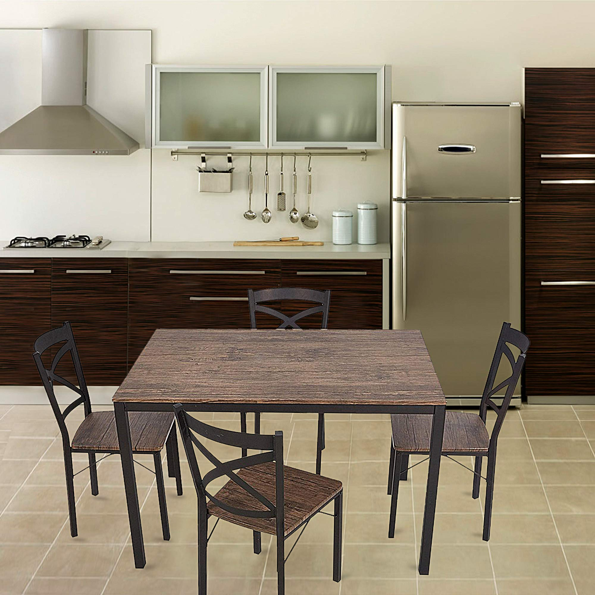 Dporticus 5-Piece Dining Set Industrial Style Wooden Kitchen Table and Chairs with Metal Legs- Espresso by Dporticus (Image #2)