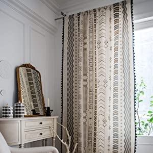 "SUCSES Boho Chic Window Curtains, Semi Blackout Bohemian Country Style Geometric Curtain Panels, Rustic Cotton Linen Drapes for Living Room Bedroom, 1 Panel, 59""x94"""