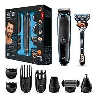 Braun MGK3085- Set de afeitado multifunción 9 en 1, depiladora masculina, recortadora de barba, cortapelos profesional hombre, negro