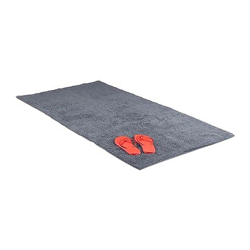 Relaxdays Badteppich 80 X 150 Cm, Badematte Waschbar, Badvorleger Für  Fußbodenheizung, Grau