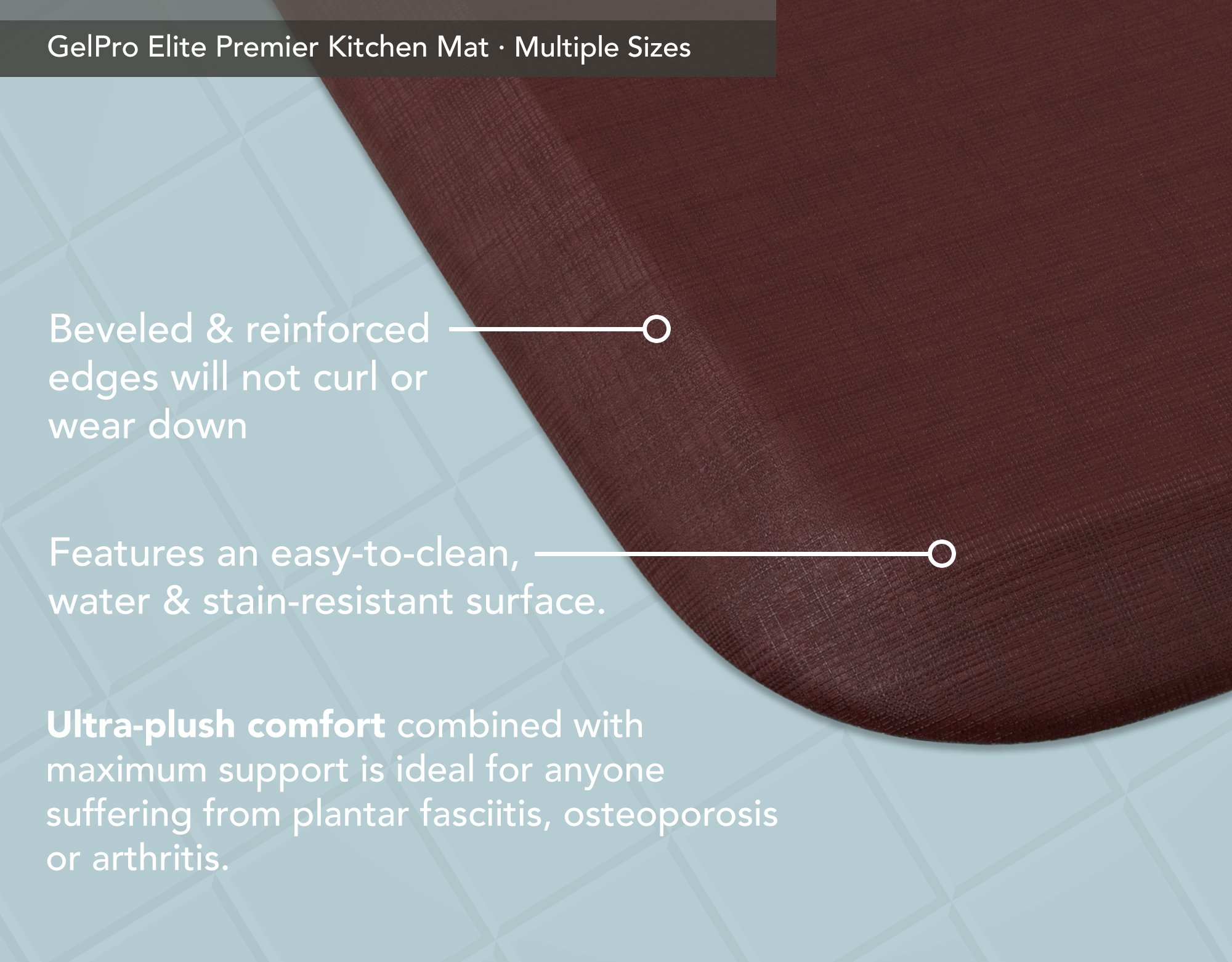 """GelPro Elite Premier Anti-Fatigue Kitchen Comfort Floor Mat, 20x36"""", Linen Cardinal Stain Resistant Surface with therapeutic gel and energy-return foam for health & wellness by GelPro (Image #4)"""