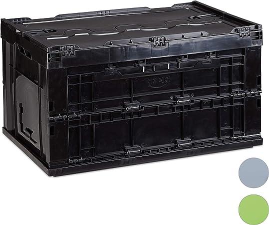 Relaxdays Caja de Almacenaje con Tapa Plegable, 60 L de Capacidad, Plástico, 32,5 x 58,5 x 39,5 cm, Negro: Amazon.es: Hogar