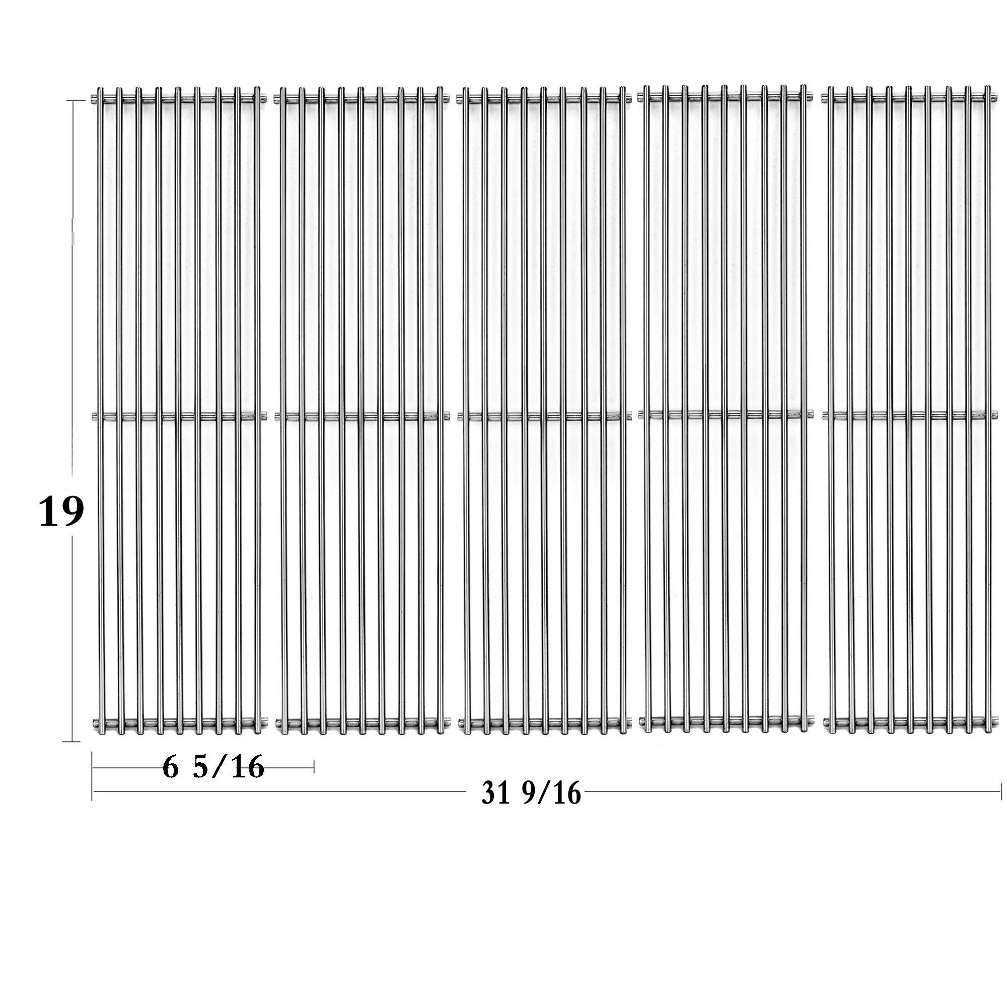 Votenli S5163A (5-Pack) Stainless Steel Cooking Grid Grates Replacement for Brinkmann 810-1575-W,Kenmore 141.16123, 141.16233, 141.16235, 141.16313, 141.16313800, 141.16315 by Votenli