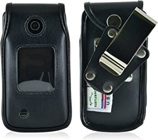 product image for Turtleback Fitted Case Made for LG Terra VN 210 Flip Phone Black Leather Rotating Removable Metal Belt Clip Made in USA