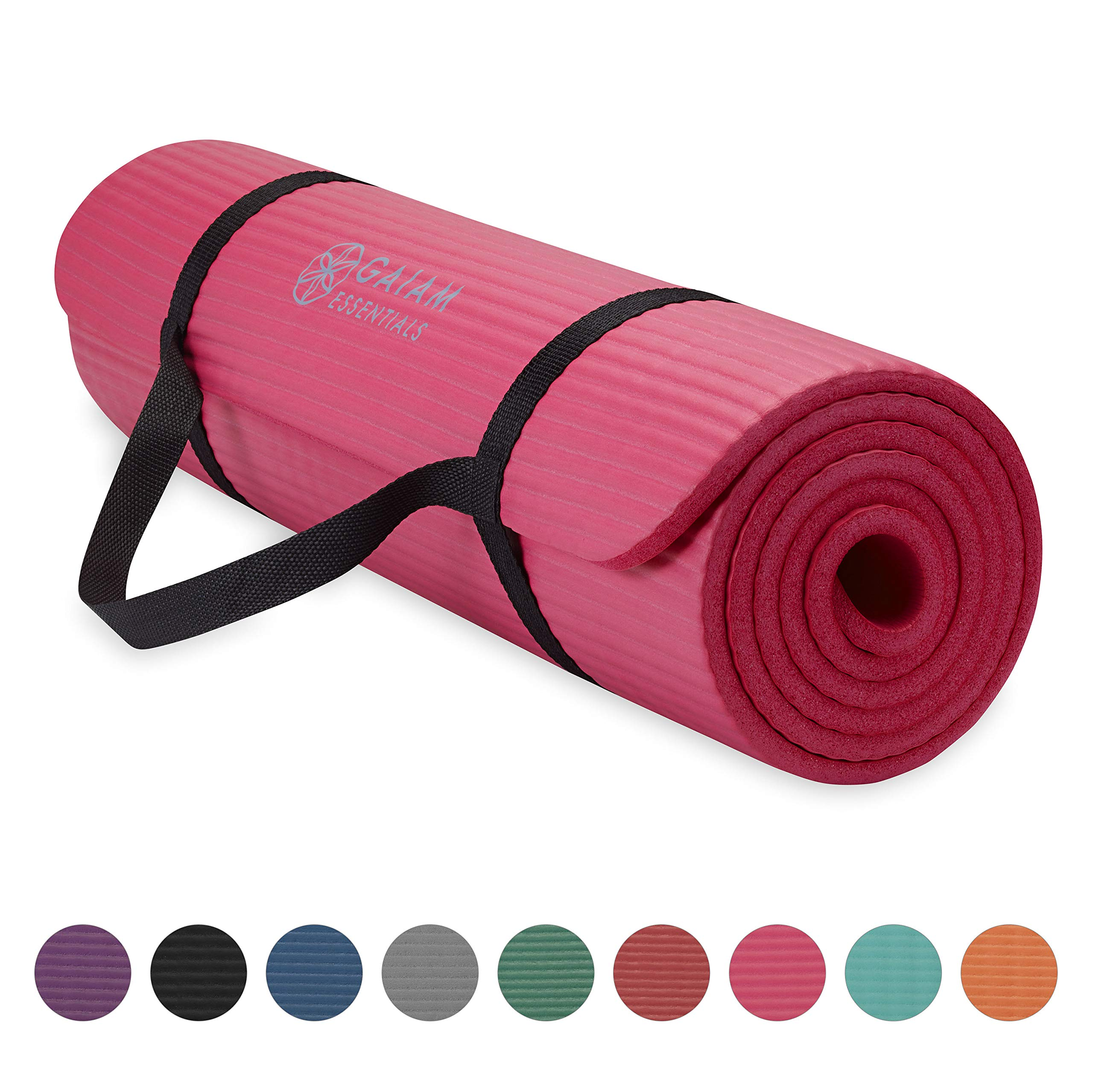 Gaiam Essentials Thick Yoga Mat Fitness & Exercise Mat with Easy-Cinch Yoga Mat Carrier Strap, Pink, 72''L x 24''W x 2/5 Inch Thick