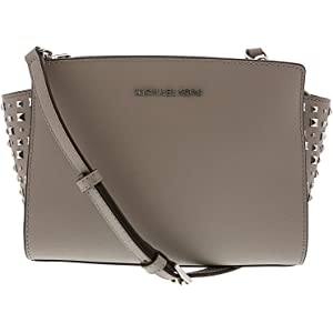 7ea6cf5104889b Michael Kors Women's Selma Stud Medium Leather Messenger Bag Cross Body