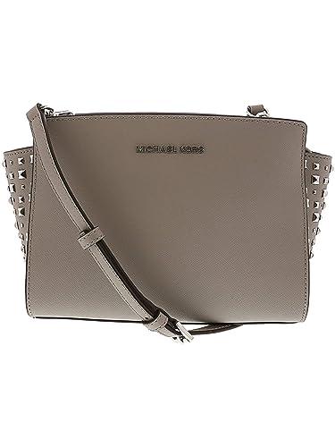 8adb24bc4c8b Michael Kors Women s Selma Stud Medium Leather Messenger Bag Cross Body -  Ash Grey