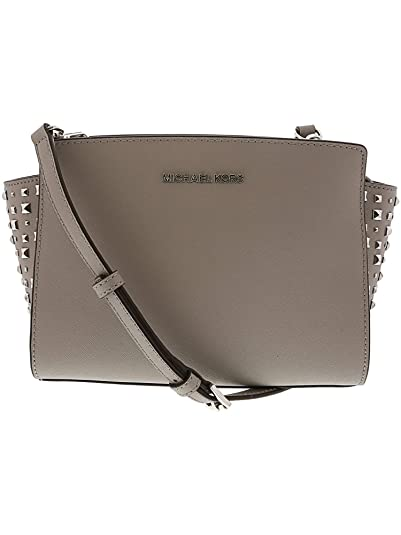 c37440d35773 Michael Kors Women's Selma Stud Medium Leather Messenger Bag Cross Body -  Ash Grey