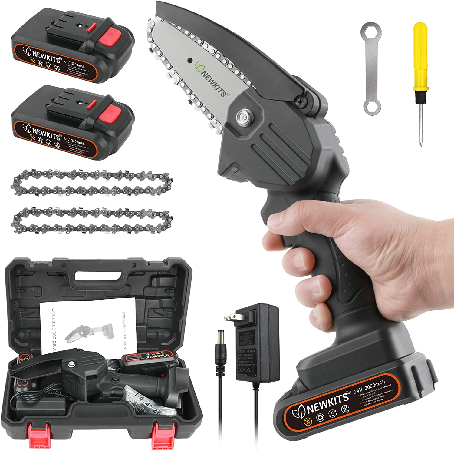 Mini Chainsaw, 24V Portable Electric Chainsaw 550W High Power Cordless Power Chain Saws NEWKITS Pruning Shears Chainsaw for Courtyard and GardenTree Branch Wood Cutting