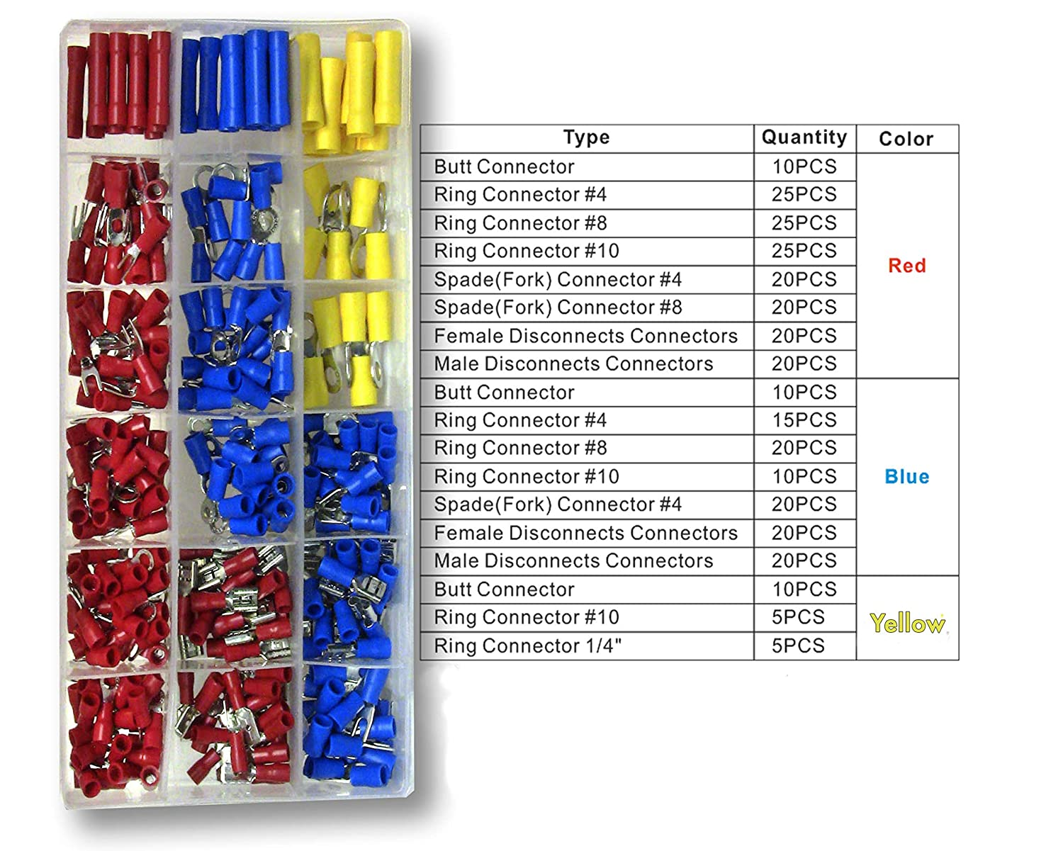 Insulated Electrical Wire Crimp Connectors Fork Connect /& Protect with 300 Pcs of Copper Ring Male Female Disconnects AWG 10-24 for Automotive Multiuse Seneuri PVC-300AC Wire Terminals by Seneurum Butt Spade