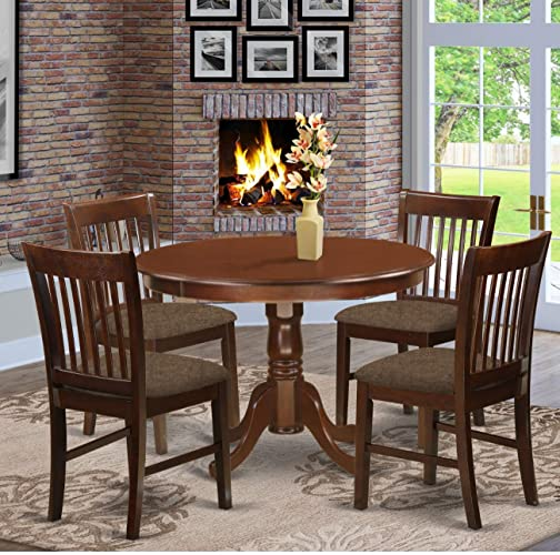 East West Furniture HLNO5-MAH-C Dining Room Set 5 Pc