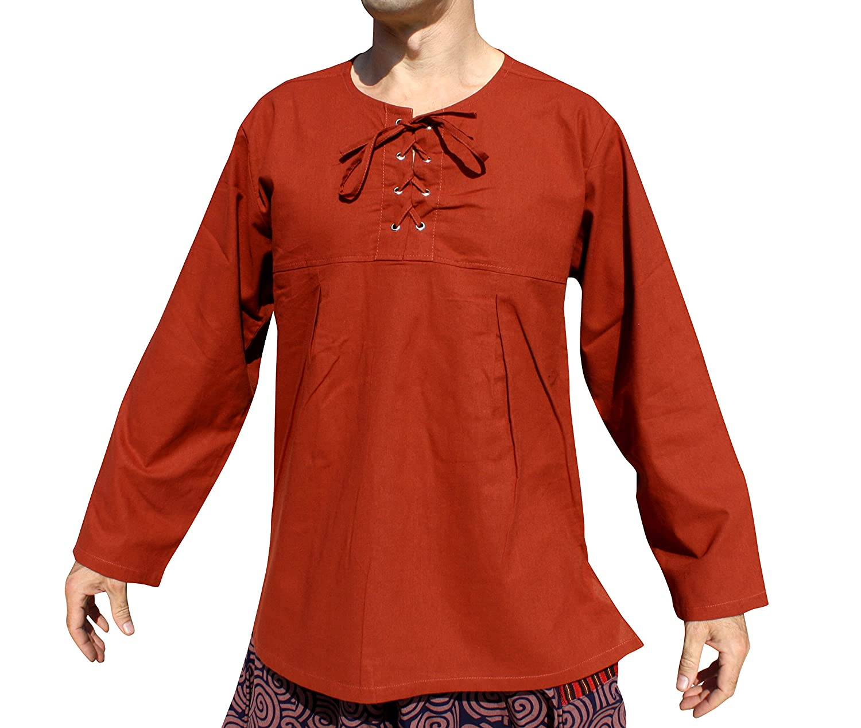 Svenine Cotton Open Collar Long Sleeve Renaissance Medieval Tie Chest Shirt