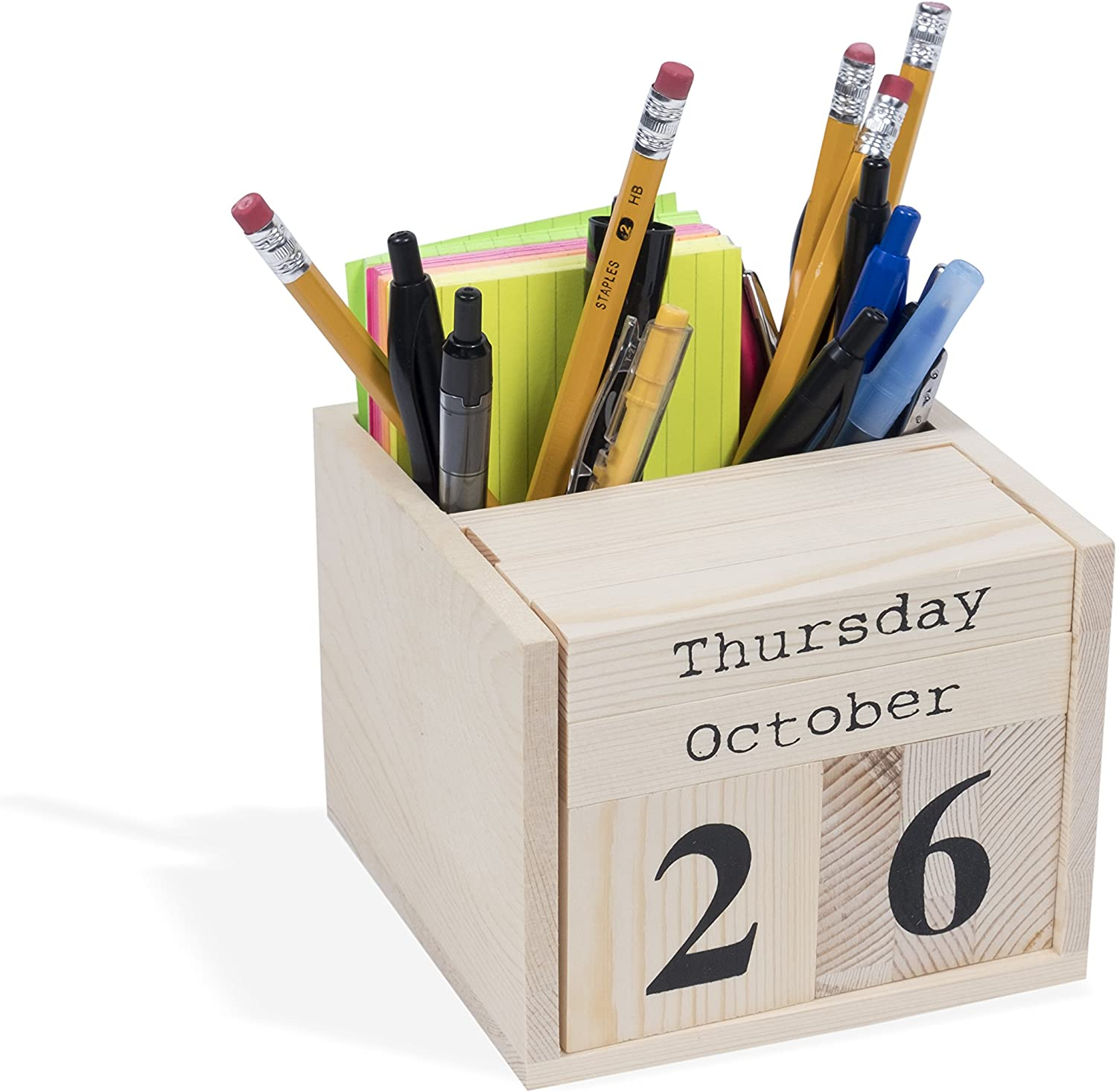 Sacramento Solid Maple Wood Calendar Blocks with Phone and Pen Stand for Office Desk