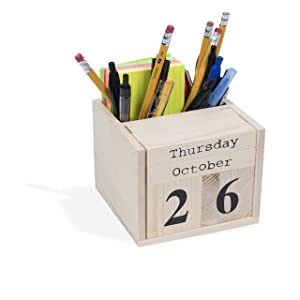 Office or Home Decorative Cube Desktop Block Calendar Pen Holder Unfinished Wood for DIY Projects Natural