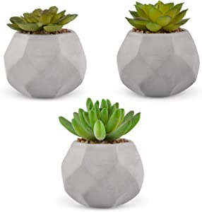 JAYLE?Realistic Fake Plants?Premium Set of 3 Artificial Succulents in Grey Cement Geometric Pots?Perfect for Any Room Decor