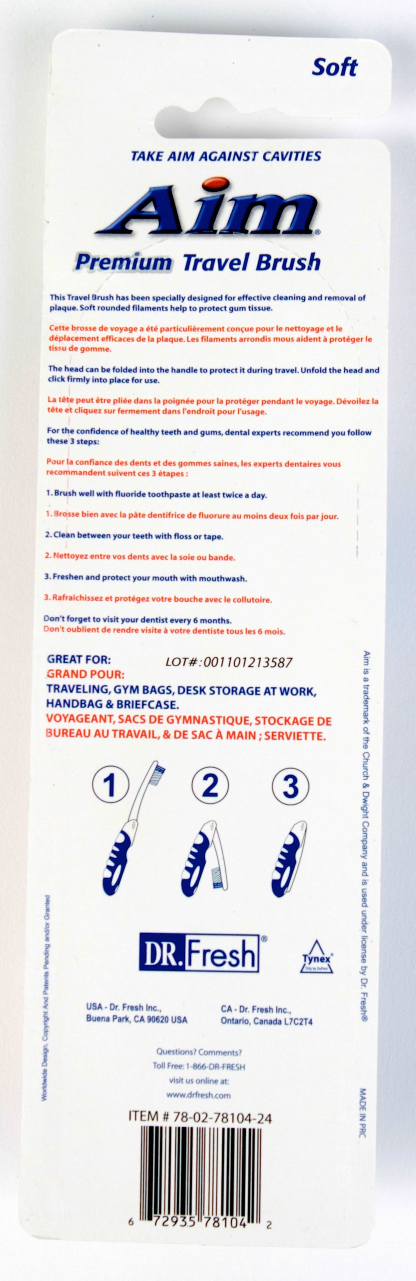 Dr. Fresh Aim Premium Travel Toothbrush, Set of 2 - Pack of 72