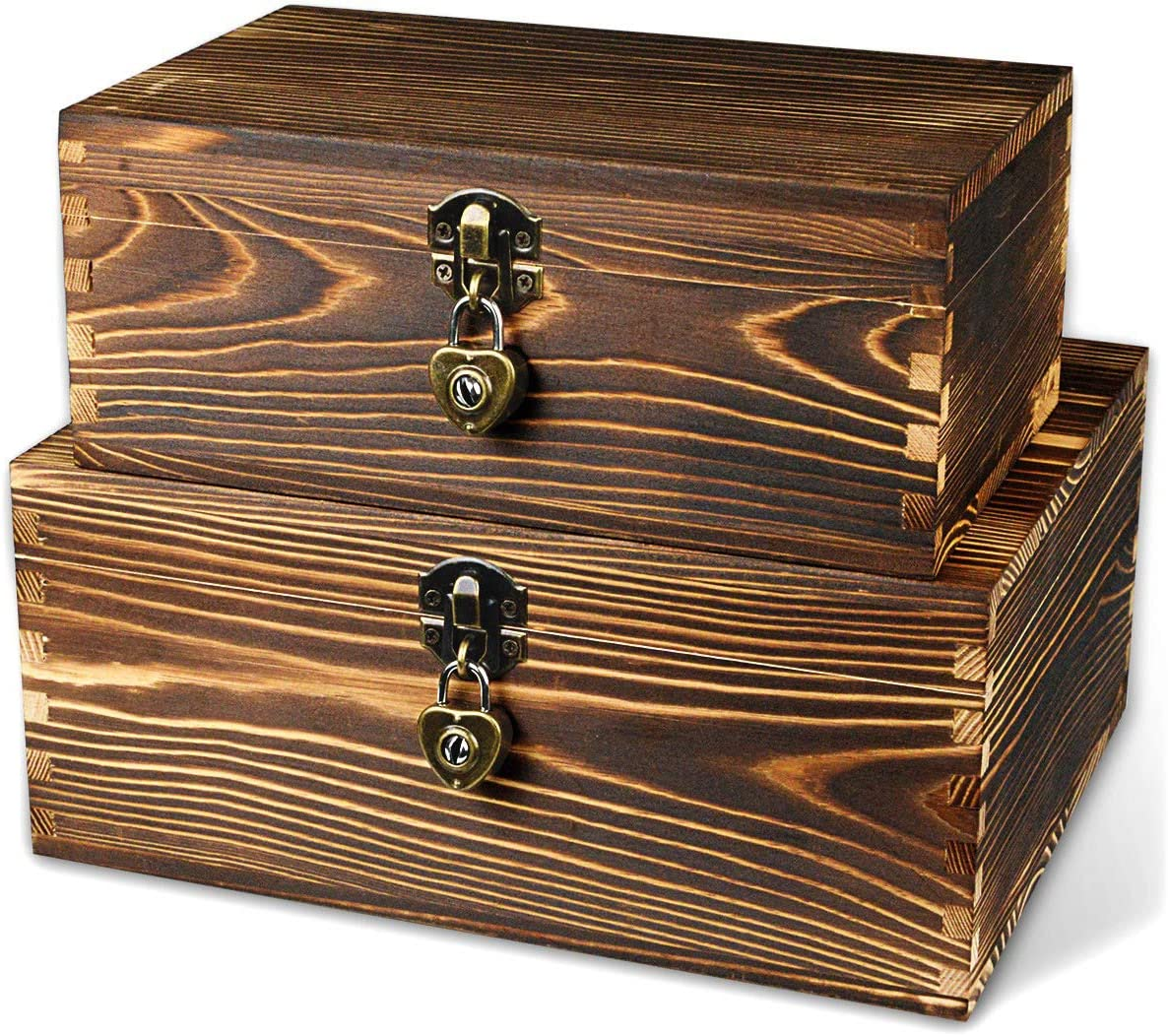 BigHala Wooden Box with Lock and Keys Hinged Lid Treasure Chest Memory Hobby Preservation Rustic Decorative Archival Organizer Jewelry Gadget Trinkets Keepsake Wood Storage Boxes 2 Pack Smokey Color