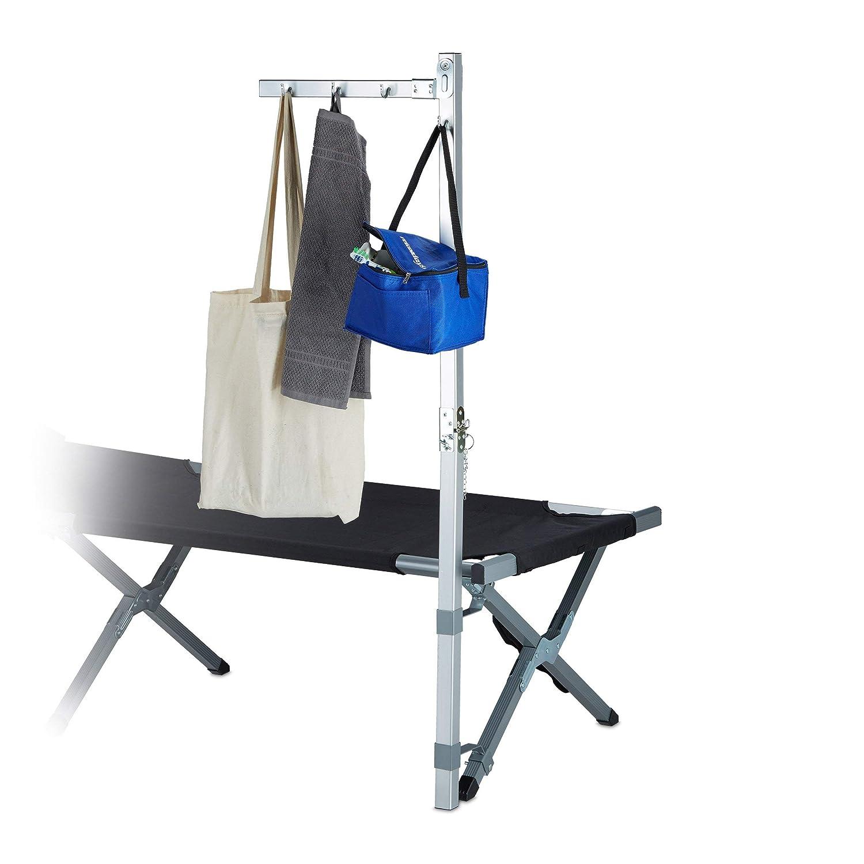 130 x 56 x 8,5 cm argent/é Relaxdays Pat/ère porte-manteau portant de camping aluminium pour lit de camp tente HxlxP