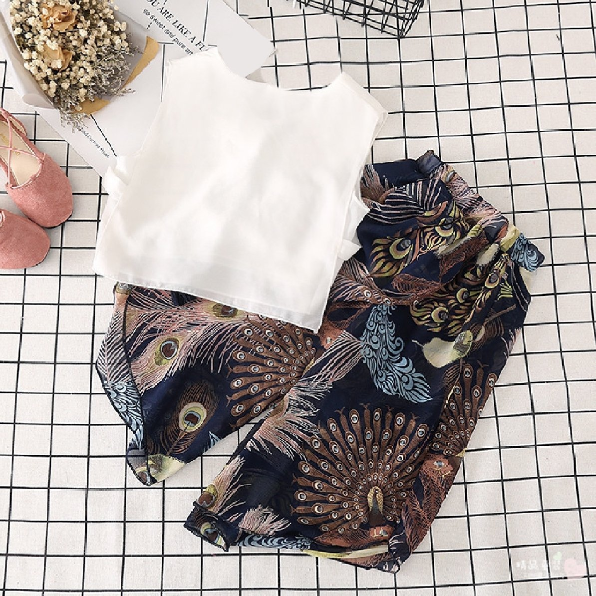 YUNY Girls Casual Ethnic Style Skorts Chiffon Tops+Shorts Outfits As Picture 130