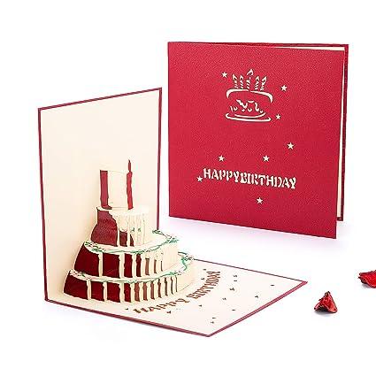 Tarjeta de Cumpleaños 3D, HOMEWINS Tarjeta de Felicitación Papel Kraft Hecho a Mano, Pastel con Velas Regalo Postal Decorado Sobre Incluido