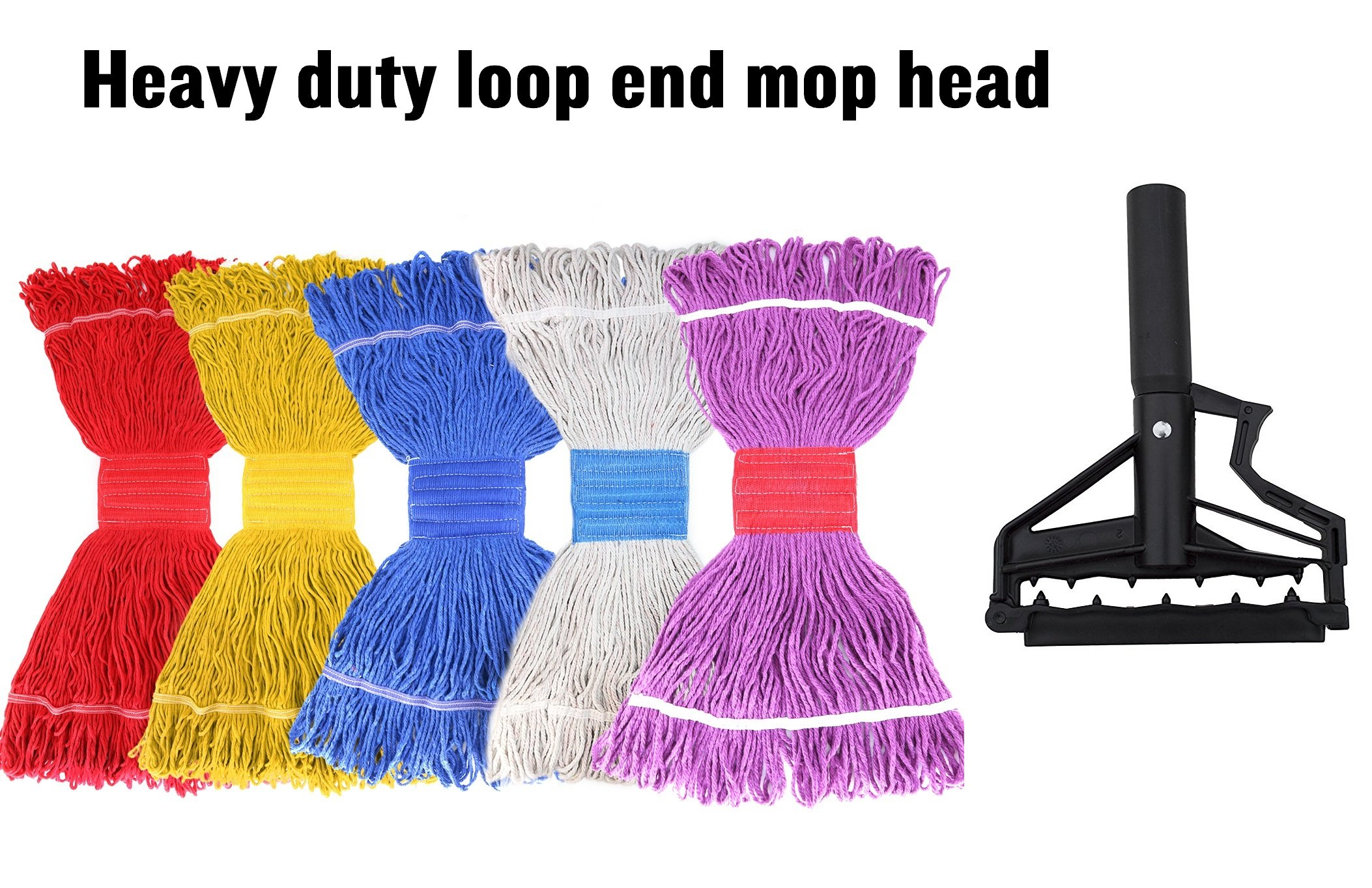 Tidy Monster String Mop Head Fit O-Cedar Rubbermaid Mop System Heavy Duty Loop-End String Mop Refills Super Stitch Blend Large Mop Heads Replacement (5 Pack-Random Color) by Tidy Monster (Image #6)