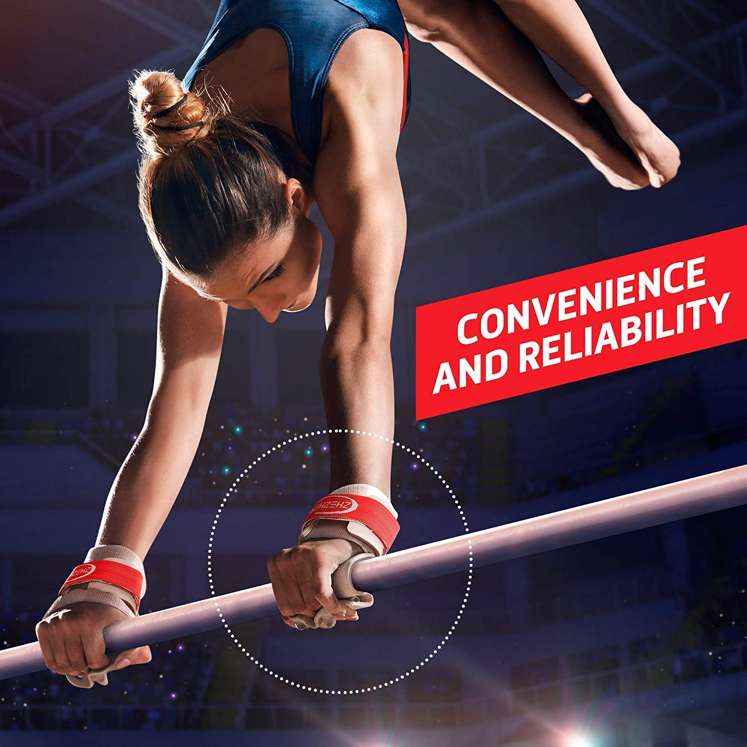 | The Original Competition Grade Gymnastics Hand Guards Zhezhera Authentic Dowel Gymnastics Grips for Girls Double Buckle - Sold in Pairs Professional Ladies Gymnastics Grips for Uneven Bars