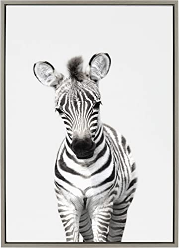 Kate and Laurel Sylvie Baby Zebra Animal Print Portrait Framed Canvas Wall Art