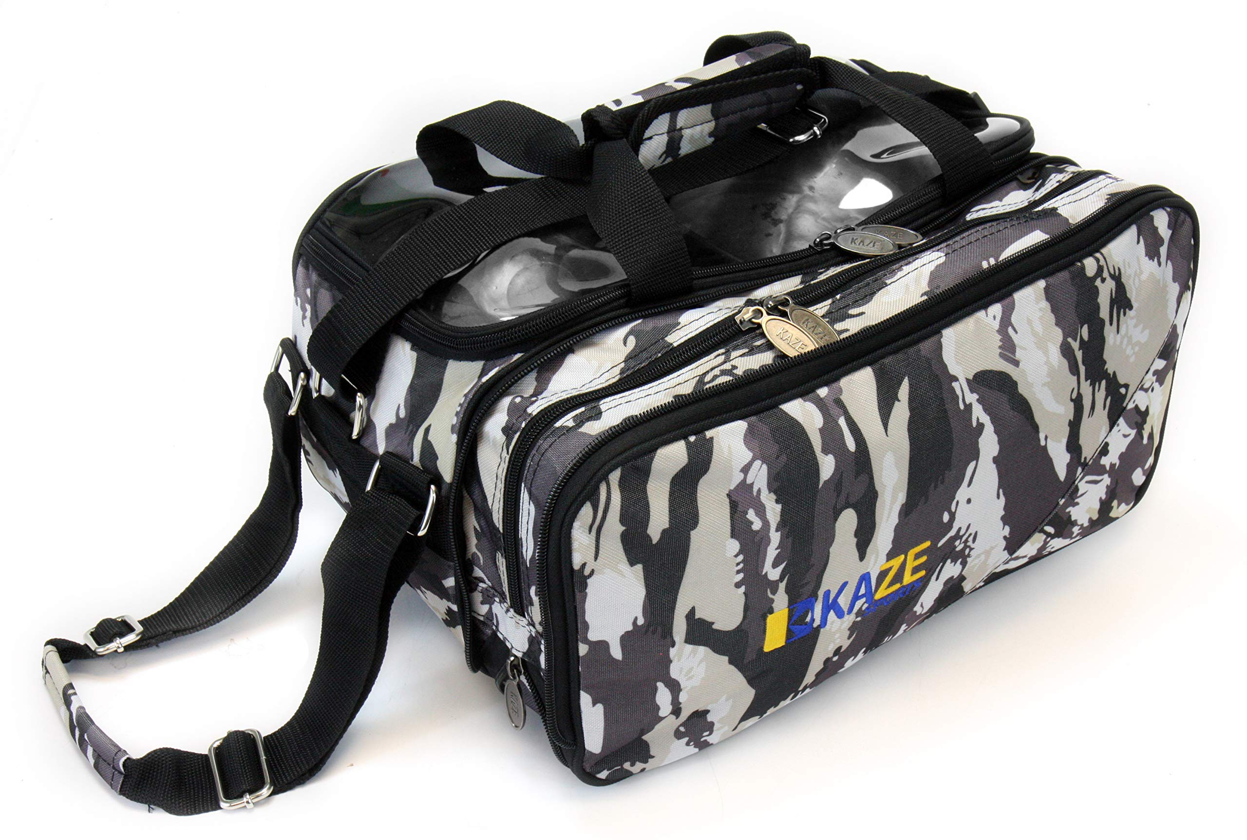 KAZE SPORTS 2 Ball Compact Bowling Roller with Expandable Shoe Storage (White Camo)