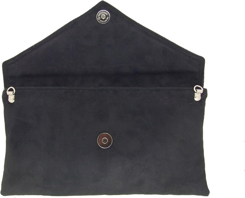 LONI Neat Umschlag Faux Wildleder Clutch Bag//Schultertasche in altrosa