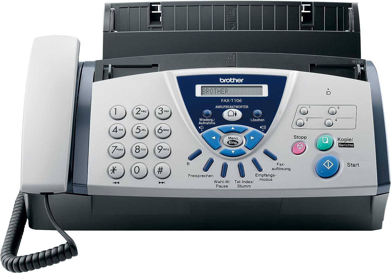 Brother FAX-T106 - Fax de transferencia térmica con auricular telefónico y contestador automático integrado: Amazon.es: Electrónica