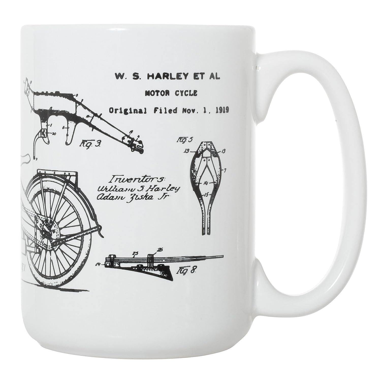 Harley-Davidson Motorcycle 1924 Patent Blueprint 15 oz Deluxe Large Mug