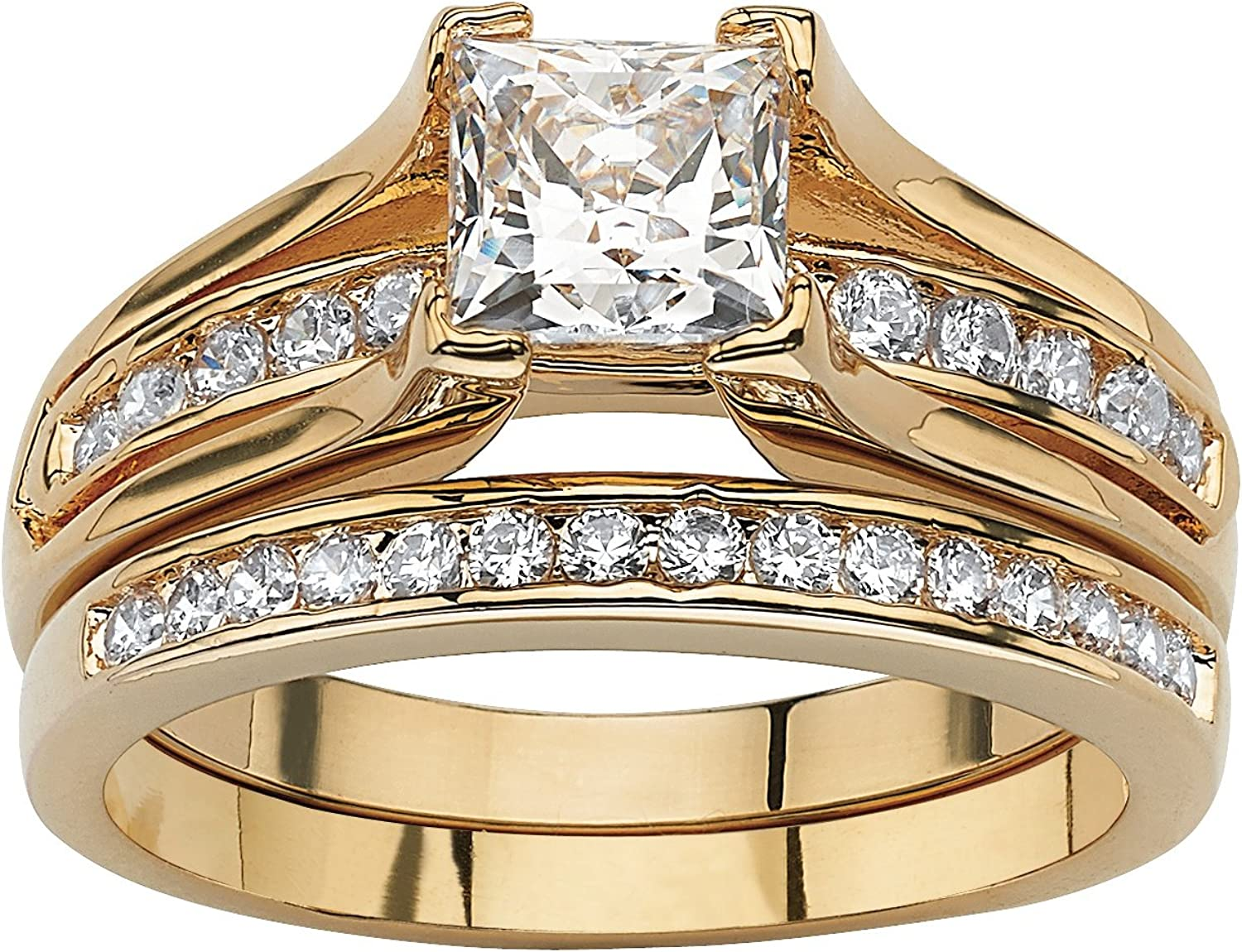Palm Beach Jewelry 14K Yellow Gold Plated Princess Cut Cubic Zirconia Channel Bridal Ring Set