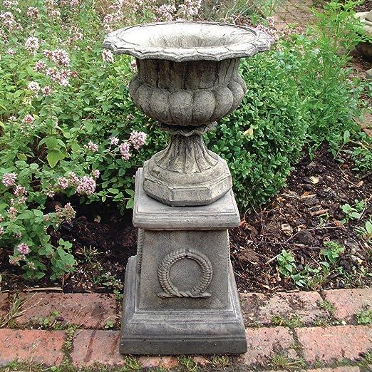 Macetero grande Garden - Modena 31 jarrón de piedra maceta con pedestal: Amazon.es: Jardín