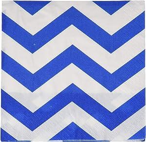 Royal Blue Chevron Beverage Paper Napkins - 30 Pcs