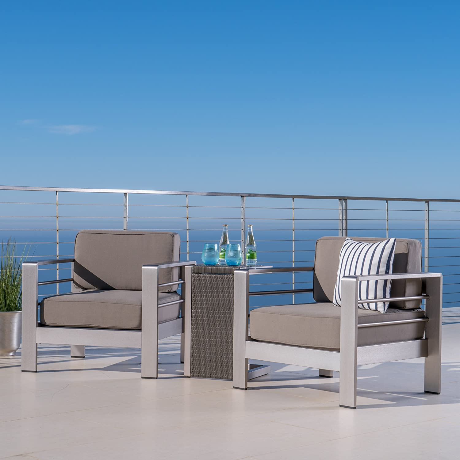 Crested Bay Patio Furniture ~ Outdoor Aluminum Patio Chairs with Side Table (Chat Set)(Khaki/Grey)