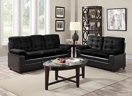 GTU Furniture 2-Tone Microfiber Sofa & Loveseat Set, 5 Colors Available (Black)