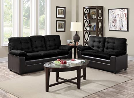 Amazon.com: GTU Muebles 2-Tone sofá de microfibra & Loveseat ...