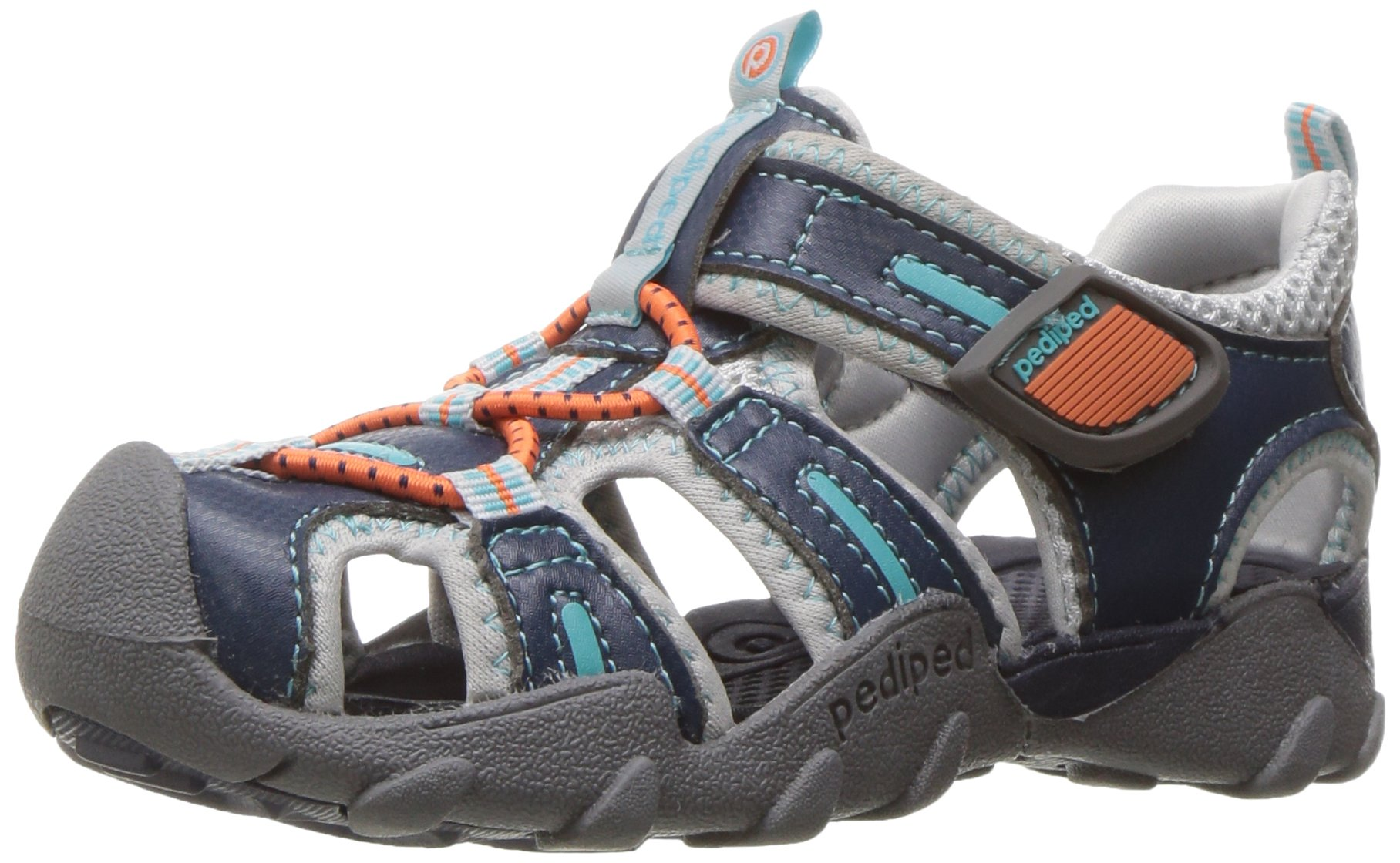 pediped Kids' Canyon Flat, Teal Orange, 24 E