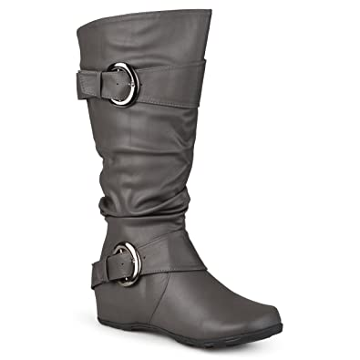 ea547653b394 Journee Collection Womens Regular Sized and Wide-Calf Slouch Buckle  Knee-High Boots Grey